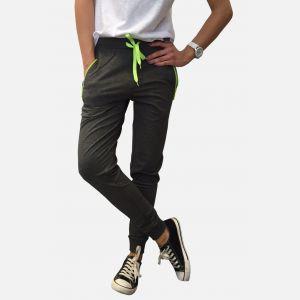 Spodnie damskie dresowe wiązane szare z limonką - 98907