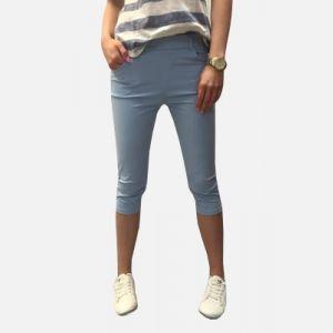Spodnie damskie 3/4 z kieszeniami jasny niebieski - 46193