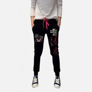 Spodnie damskie dresowe z napisami czarne - 98823