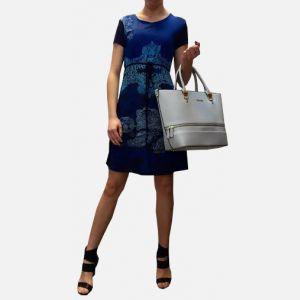 Sukienka z krótkim rękawem granatowa - 16820