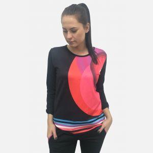 Bluzka damska z nadrukiem czarno-różowym 61301