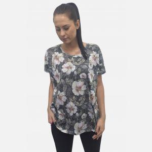 Bluzka damska w kwiaty ciemny szary 61308