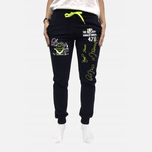 Spodnie damskie dresowe z napisami granatowe z zielonym - 98823
