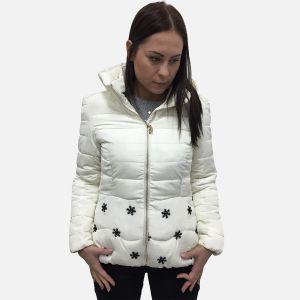 Kurtka damska w śnieżynki ecru 56846