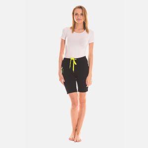 Spodnie Krótkie Damskie - Czarno - Limonkowe (46395)