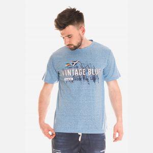 Koszulka Męska Bawełniana - Niebiesko-Biała 46413