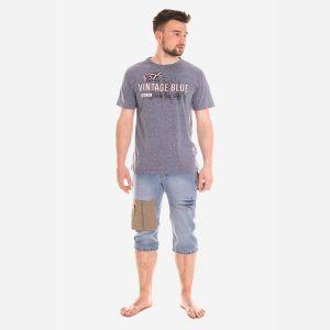 Koszulka Męska Bawełniana - Grafitowo-Beżowa 46413