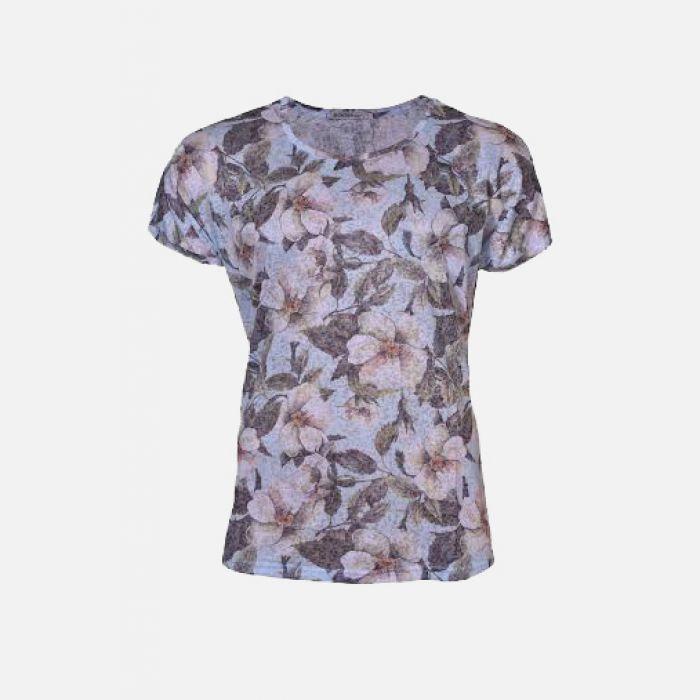 Bluzka damska w kwiaty jasny błękit 61308