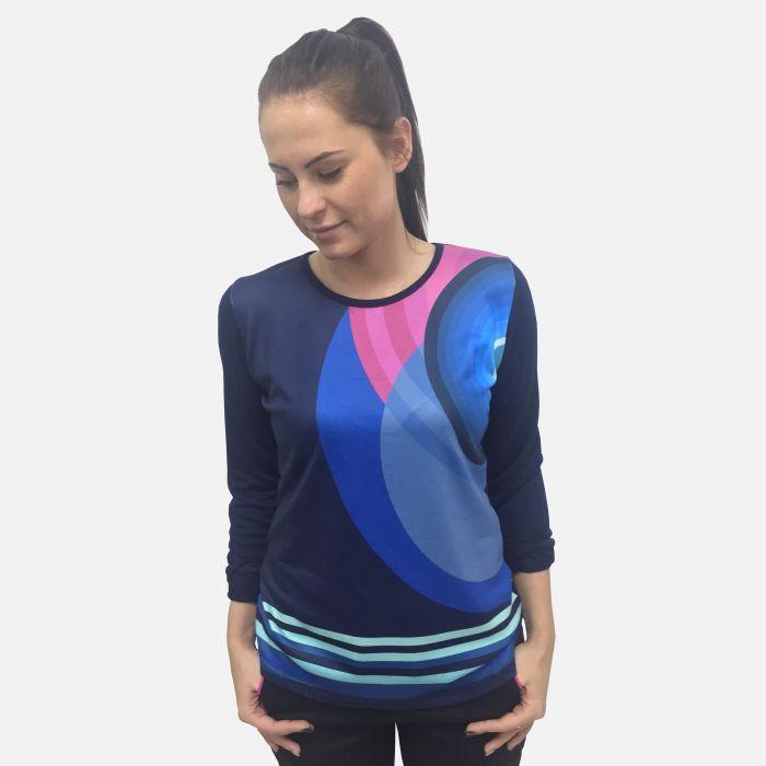 Bluzka damska z nadrukiem niebiesko-fuksjowym 61301