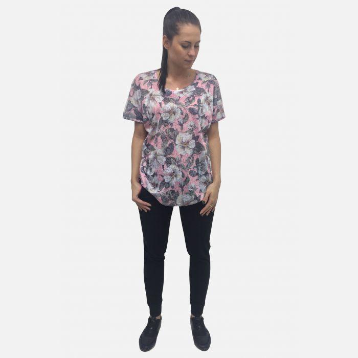 Bluzka damska w kwiaty różowy 61308