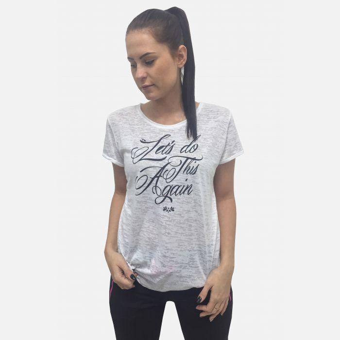 Bluzka damska z napisem biała 61394