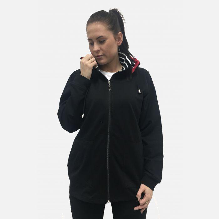 Bluza damska z kapturem czarna 65547
