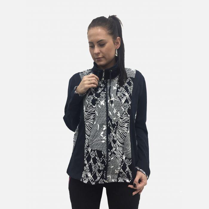 Bluza damska z kołnierzem granatowo-biała 65549