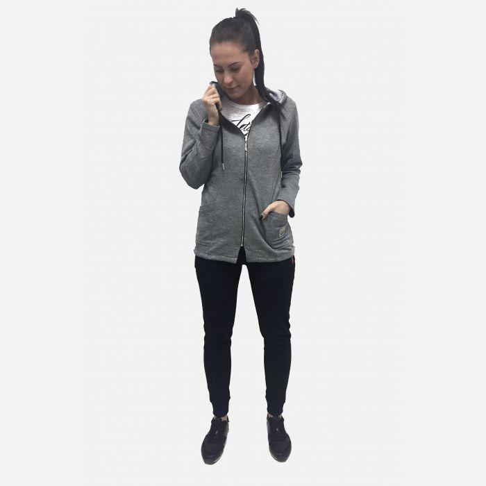 Bluza damska sportowa z kapturem jasno-szara 46161