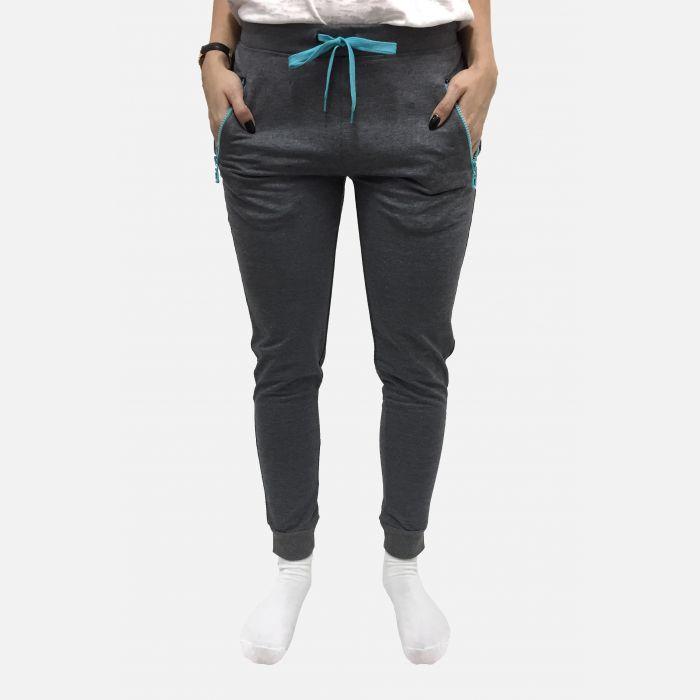 Spodnie damskie dresowe wiązane szare z niebieskim - 98907