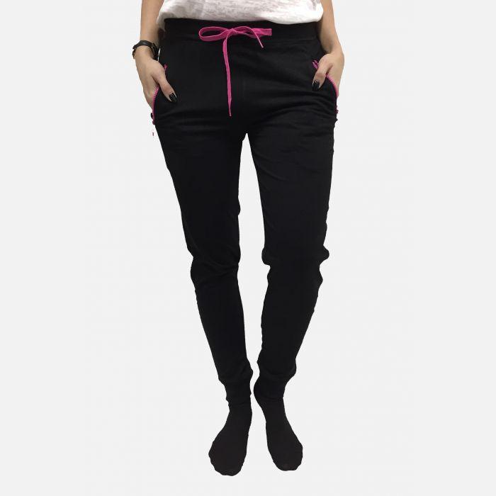 Spodnie damskie dresowe wiązane czarne - 98907