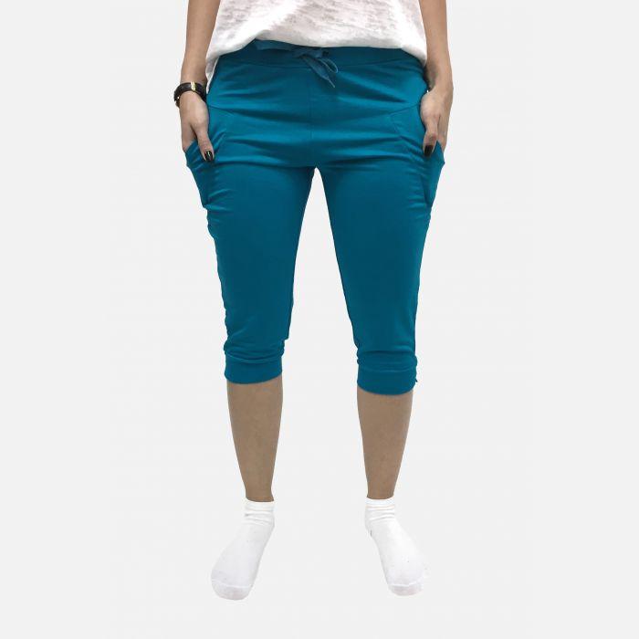 Damskie spodnie fitness 3/4 turkus 46081