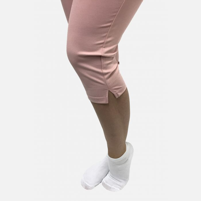 Spodnie damskie 3/4 z kieszeniami pudrowy róż - 46193