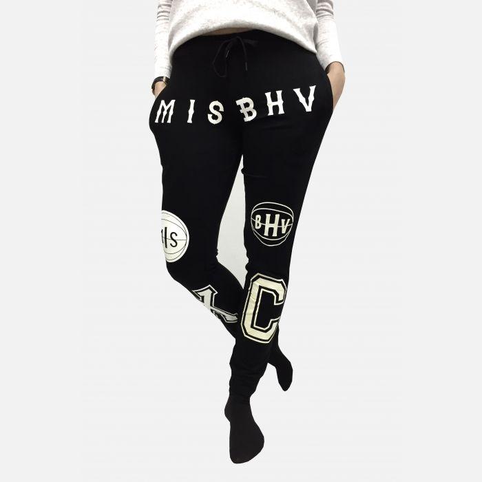 Spodnie dresowe damskie z napisami czarne - 98820