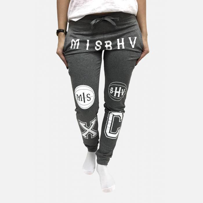 Spodnie dresowe damskie z napisami szare - 98820