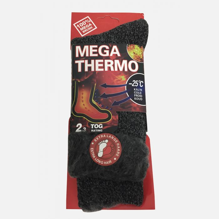 Grube skarpety męskie 100% MEGA Thermo ciemny szary C-6006