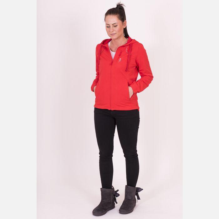 Bluza damska z kapturem czerwona 57095