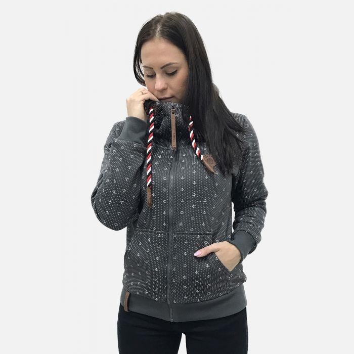 Bluza damska z kapturem szara 57372