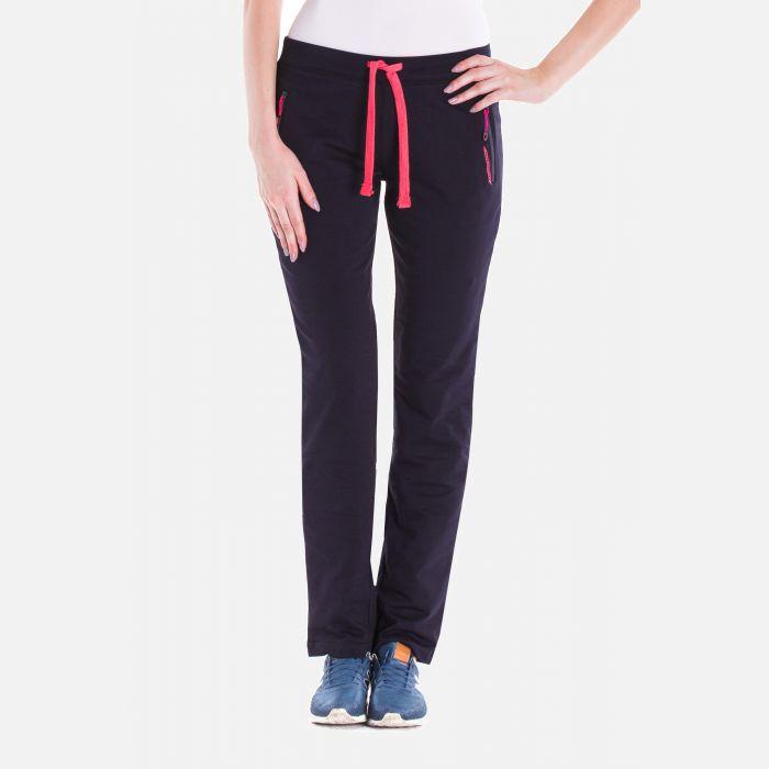 Sportowe spodnie dresowe damskie granat-fuksja 57373