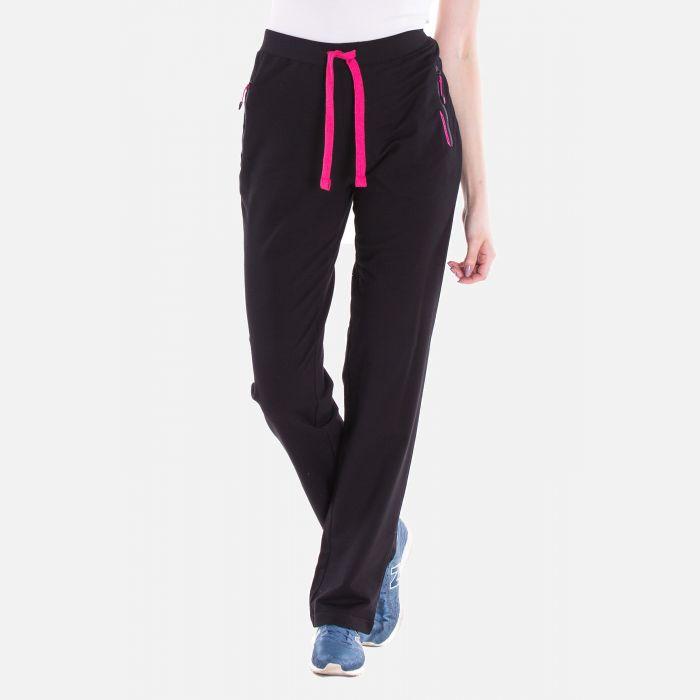 Sportowe spodnie dresowe damskie czarne-różowe 57373