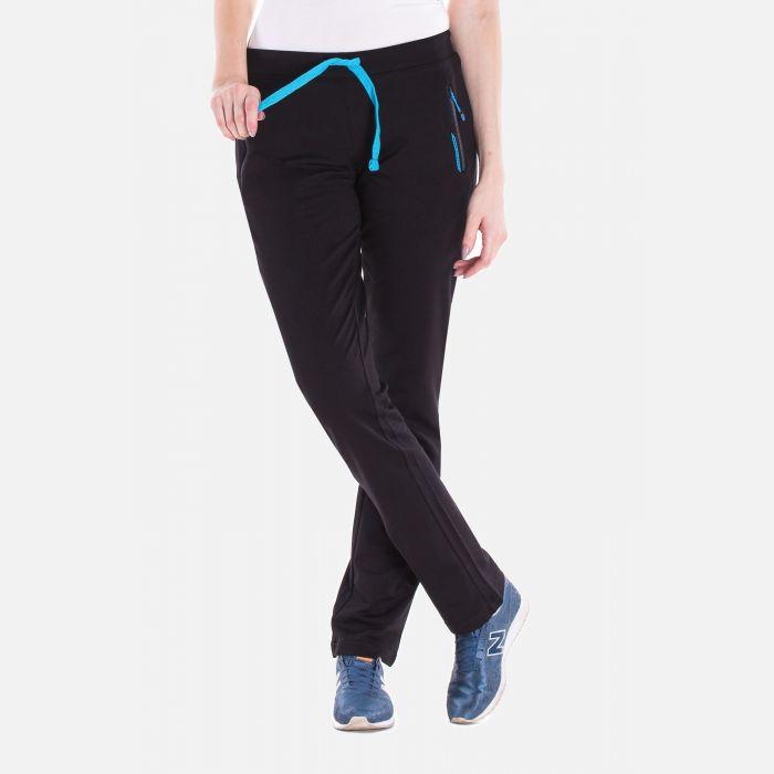 Sportowe spodnie dresowe damskie czarne-niebieskie 57373