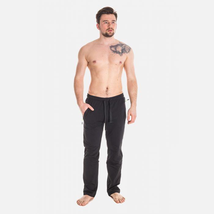 Spodnie Męskie Dresowe - Czarno - Zielone 57361