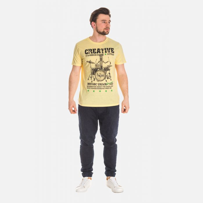Koszulka Męska Bawełniana - Żółta 61039