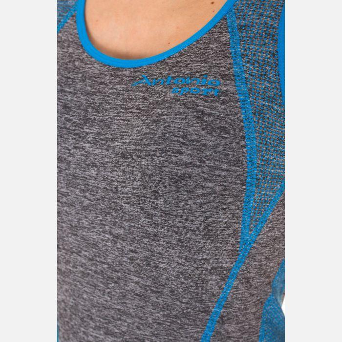 Koszulka Damska Fitness - Niebiesko - Szara (B004)