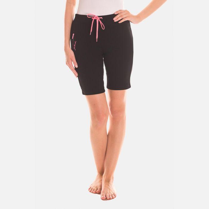 Spodnie Krótkie Damskie - Czarno - Różowe (46395)