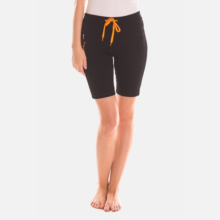 Spodnie Krótkie Damskie - Czarno - Pomarańczowe (46395)