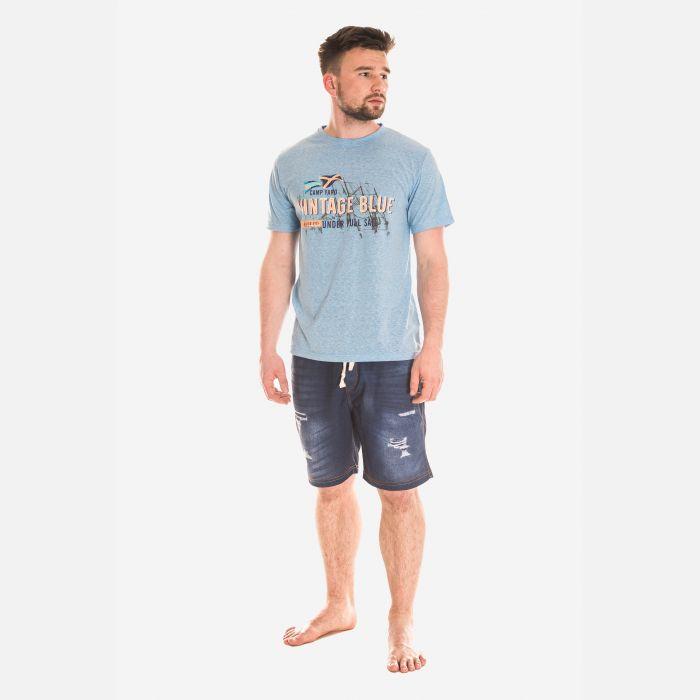 Koszulka Męska Bawełniana - Niebiesko-Pomarańczowa 46413