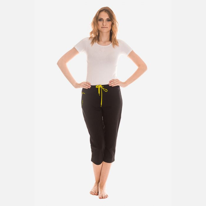 Spodnie Damskie 3/4 - Rybaczki - Czarno - Limonkowe (46400)