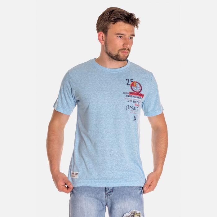 Koszulka Męska Benter - Błękitna z Czerwienią 46412