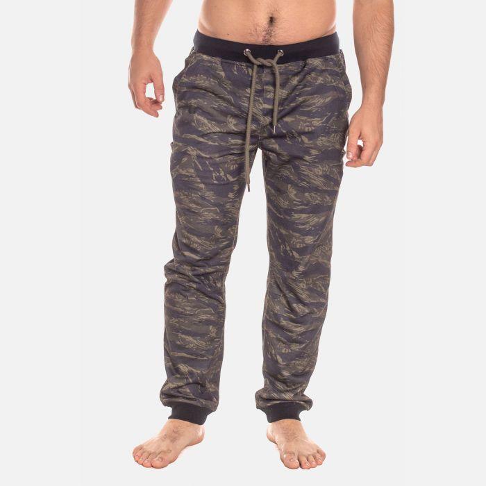 Spodnie Męskie Dresowe - Granatowo - Zielone (57500)