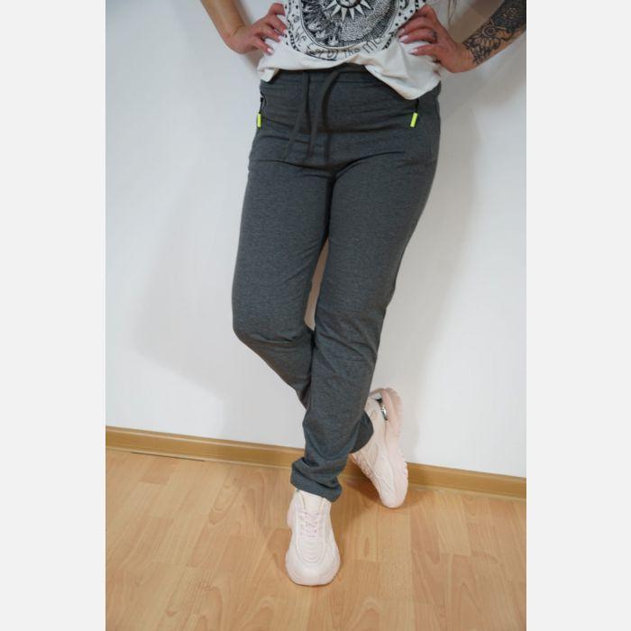 Sportowe spodnie dresowe damskie szary 46887