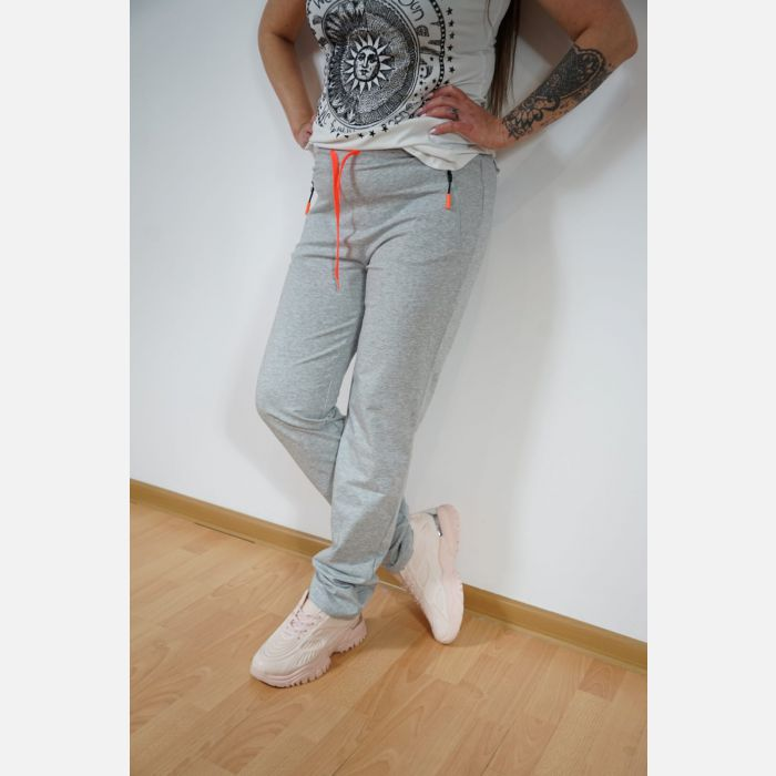 Sportowe spodnie dresowe damskie jasny szary 46887