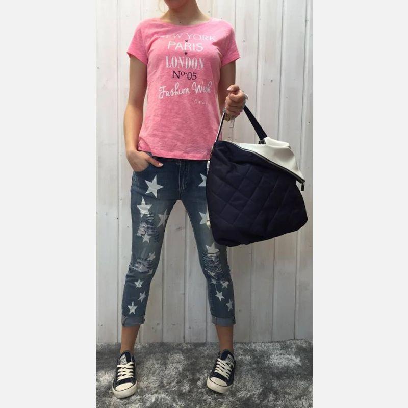 Bluzka damska z nadrukiem miasta różowa 16831