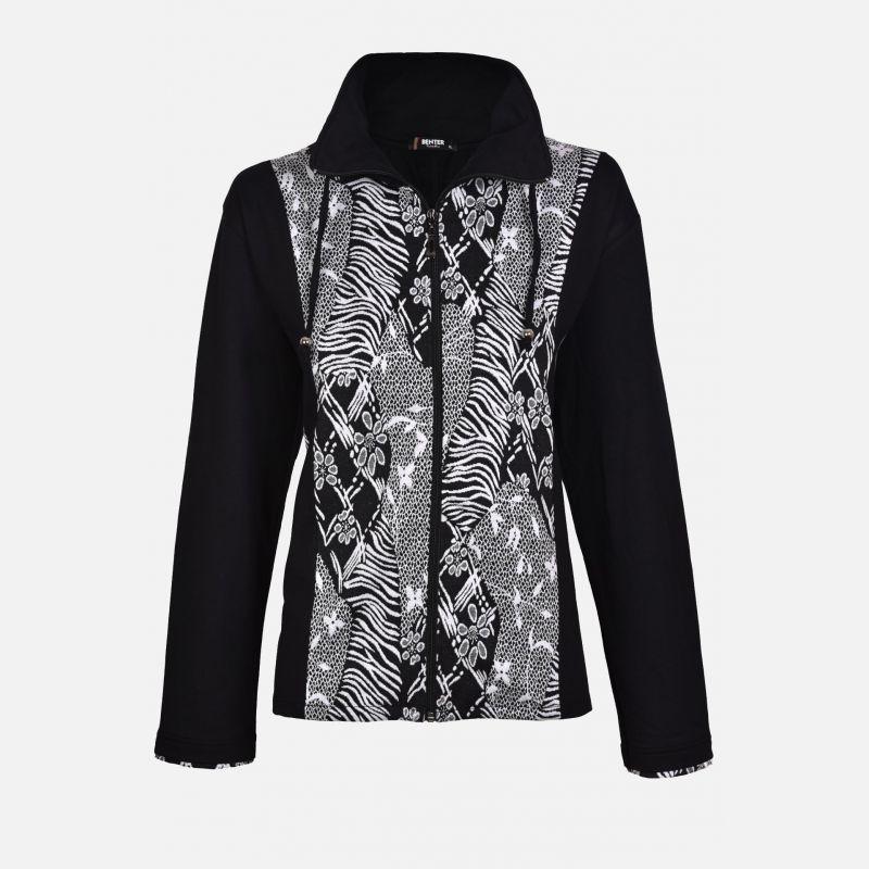 Bluza damska z kołnierzem czarno-biała 65549