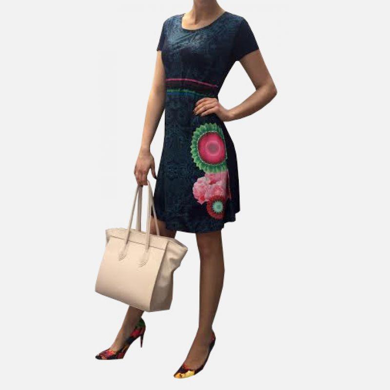 Sukienka bawełniana z oryginalnym wzorem granatowa - 16820