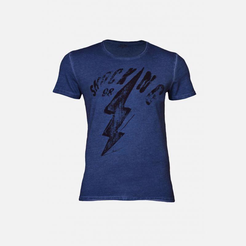 Koszulka męska bawełniana z nadrukiem grafitowa - 16627