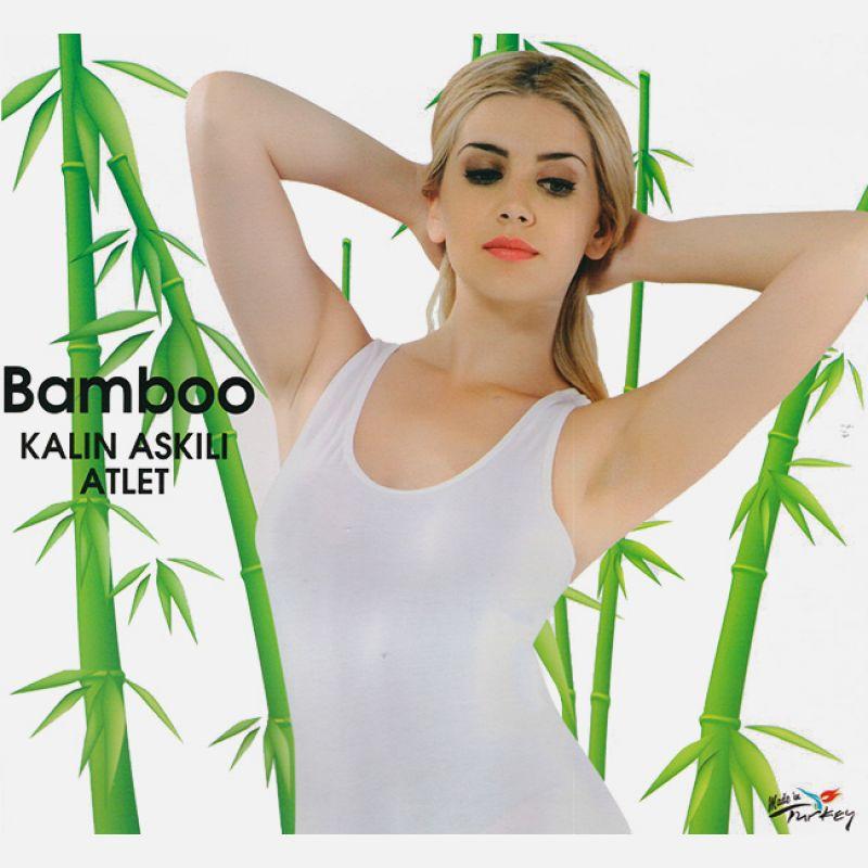 Koszulka damska z włókna bambusowego grube ramiączko biała 701