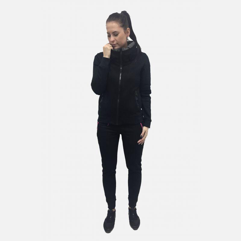 Bluza damska z kołnierzem czarna 57182