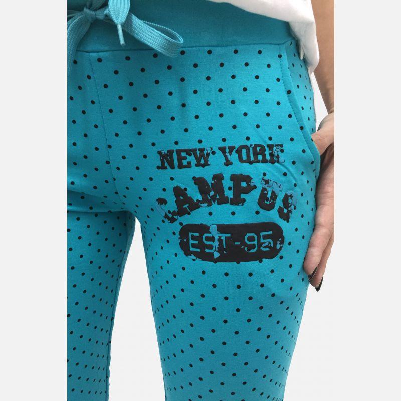 Spodnie dresowe damskie z kropkami turkusowe - 98822