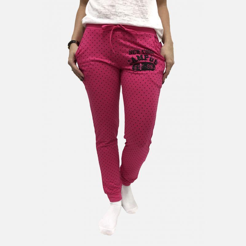 Spodnie dresowe damskie z kropkami fuksja - 98822