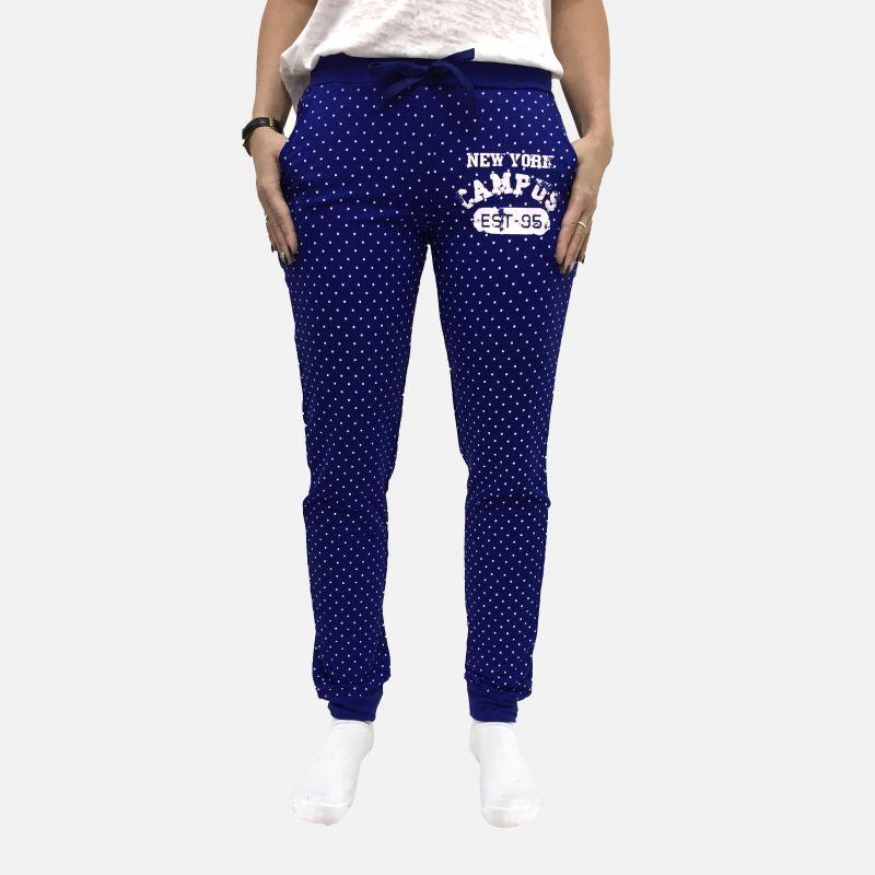 Spodnie dresowe damskie z kropkami chabrowe - 98822